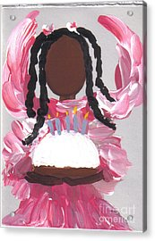 Happy Birthday From The Cake Angel Acrylic Print by Roz Roy