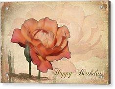 Happy Birthday Peach Rose Card Acrylic Print