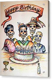 Happy Birthday Woman Skull Acrylic Print by Heather Calderon