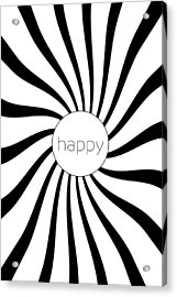 Happy - Black And White Swirl Acrylic Print