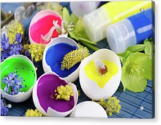 Happy Colorful Easter Decoration With Egg Shells Filled With Paints And Spring Flowers Acrylic Print by Dariya Angelova