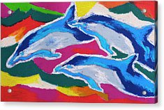 Acrylic Print featuring the painting Happy Dolphin Dance by Stephen Anderson