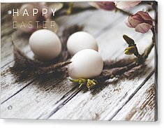 Happy Easter Card With Eggs And Magnolia On The Wooden Background Acrylic Print