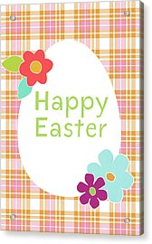 Happy Easter Egg Pink Plaid- Art By Linda Woods Acrylic Print