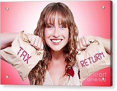 Happy Female Accountant Holding Income Tax Return Acrylic Print by Jorgo Photography - Wall Art Gallery