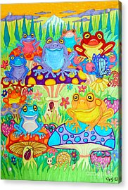 Happy Frogs In Mushroom Valley Acrylic Print by Nick Gustafson