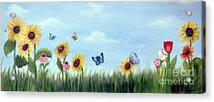 Acrylic Print featuring the painting Happy Garden by Carol Sweetwood