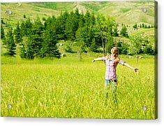 Happy Girl Enjoying Nature Acrylic Print by Anna Om