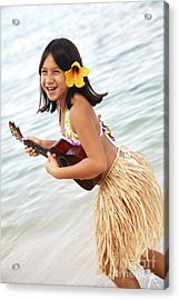 Happy Girl With Ukulele Acrylic Print by Brandon Tabiolo - Printscapes