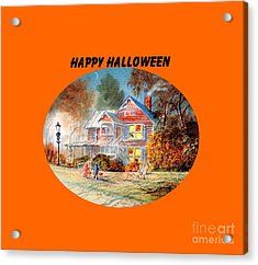 Acrylic Print featuring the painting Happy Halloween by Bill Holkham