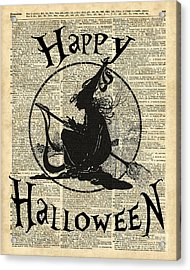 Happy Halloween Witch With Broom Dictionary Artwork Acrylic Print