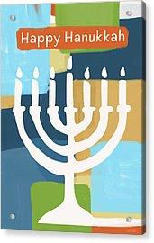 Happy Hanukkah Menorah Painted- Art By Linda Woods Acrylic Print