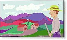 Happy Highland Farm Acrylic Print by Fred Jinkins