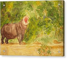 Acrylic Print featuring the painting Happy Hippo by Vicki  Housel