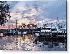 Happy Hour Sunset At Bluewater Bay Marina, Florida Acrylic Print