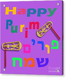 Happy Joyous Purim In Hebrew And English Acrylic Print by Humorous Quotes