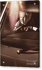 Happy Kid Pretending To Drive Vintage Car Acrylic Print by Jorgo Photography - Wall Art Gallery