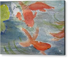 Happy Koi Acrylic Print by Elvira Ingram