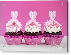 Pink And White Cupcakes. Acrylic Print by Milleflore Images