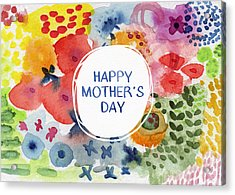 Happy Mothers Day Watercolor Garden- Art By Linda Woods Acrylic Print by Linda Woods