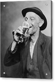Happy Old Man Drinking Glass Of Beer Acrylic Print