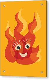 Happy Orange Burning Fire Character Acrylic Print