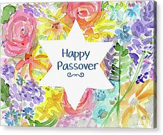 Happy Passover Floral- Art By Linda Woods Acrylic Print by Linda Woods