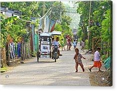 Happy Philippine Street Scene Acrylic Print by James BO  Insogna