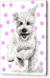 Acrylic Print featuring the drawing Happy Pink Polka Dots Doggy  by Heidi Kriel