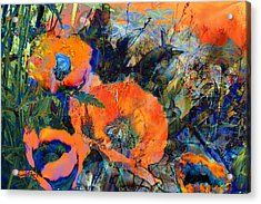 Happy Poppies Acrylic Print by Anne Weirich