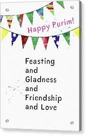 Acrylic Print featuring the mixed media Happy Purim Card- Art By Linda Woods by Linda Woods