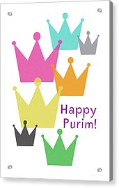 Acrylic Print featuring the mixed media Happy Purim Crowns - Art By Linda Woods by Linda Woods