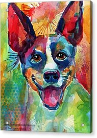 Happy Rat Terrier Watercolor Portrait Acrylic Print