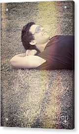 Happy Smiling Man Resting On Summer Holiday Acrylic Print