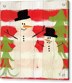 Happy Snowmen- Art By Linda Woods Acrylic Print by Linda Woods
