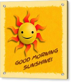 Acrylic Print featuring the digital art Happy Sun Face by John Wills