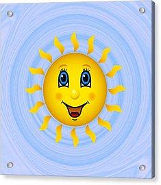Happy Sun On Blue Sky Acrylic Print