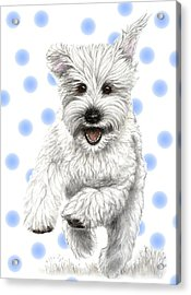 Acrylic Print featuring the drawing Happy Blue Polka Dots Doggy by Heidi Kriel