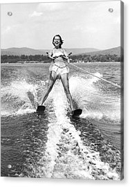 Happy Woman Water Skier Acrylic Print by Underwood Archives