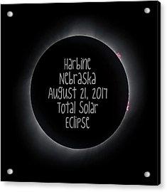 Harbine Nebraska Total Solar Eclipse August 21 2017 Acrylic Print