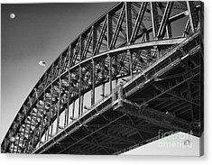 Acrylic Print featuring the photograph Harbor Bridge In Black And White by Yew Kwang