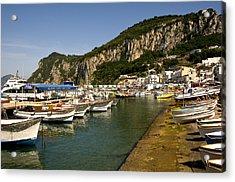 Harbor Capri Italy Acrylic Print by Xavier Cardell