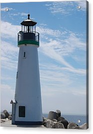 harbor lighthouse Santa Cruz Acrylic Print by Garnett  Jaeger