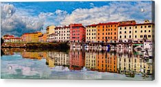 Harbor Reflections In Panoramic Acrylic Print by Sue Melvin
