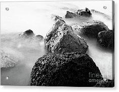 Harbor Rocks And Misty Ocean II Acrylic Print by Charmian Vistaunet