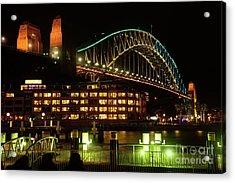 Harbour Bridge Aqua Gold Vivid Sydney 2016 By Kaye Menner Acrylic Print