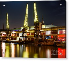Acrylic Print featuring the photograph Harbour Cranes by Colin Rayner