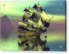 Hard Aground Taking On Water Acrylic Print by Claude McCoy