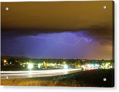 Hard Rain  Lightning Thunderstorm Over Loveland Colorado Acrylic Print by James BO  Insogna