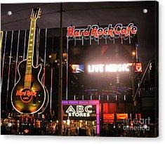 Hard Rock Cafe Las Vegas Strip At Night Acrylic Print by RicardMN Photography